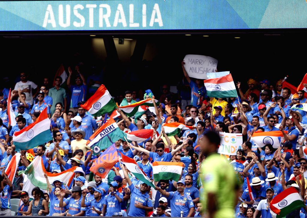 Indian fans cheer for the team during an ICC World Cup 2015 match between India and Pakistan at Adelaide Oval in Adelaide, Australia on Feb 15, 2015.