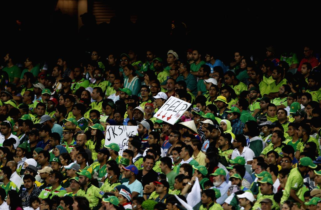 Pakistani fans during an ICC World Cup 2015 match between India and Pakistan at Adelaide Oval in Adelaide, Australia on Feb 15, 2015.