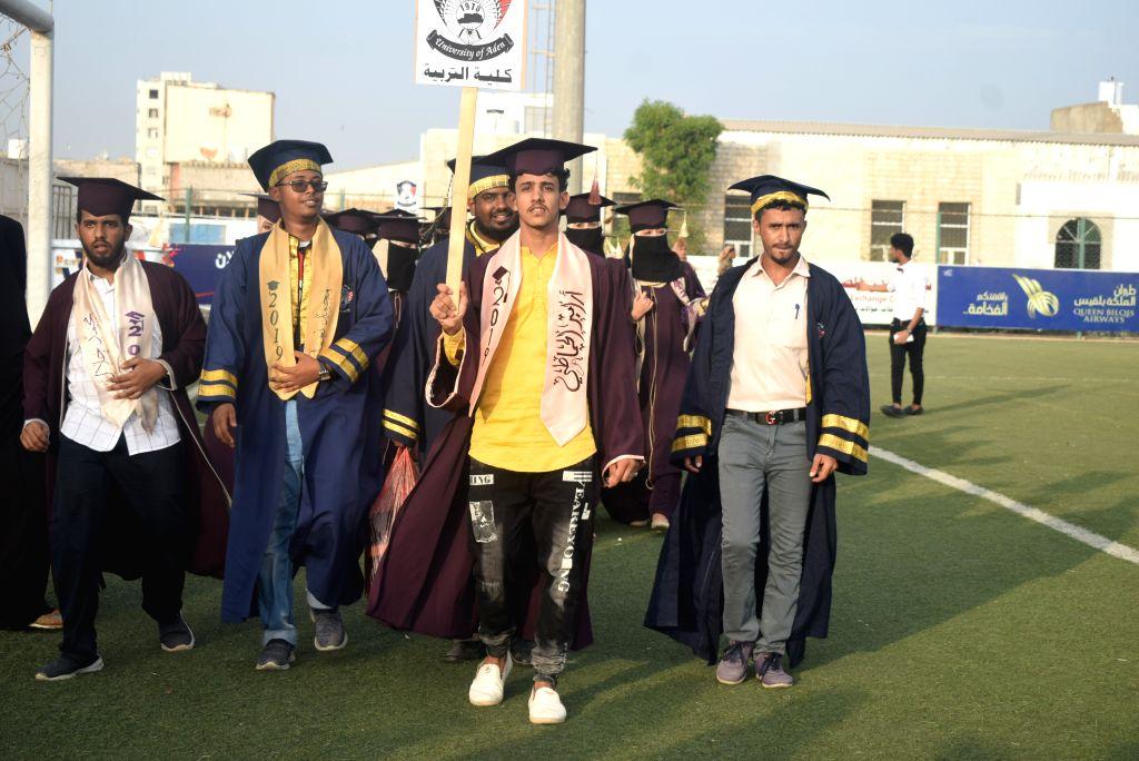 ADEN (YEMEN), July 27, 2019 Yemeni university graduates attend a large celebration in a sports stadium in Aden, Yemen, on July 27, 2019. Hundreds of university graduates across the ...