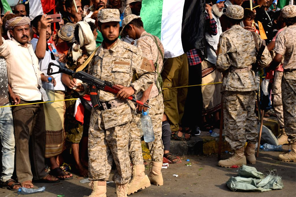 ADEN (YEMEN), Sept. 5, 2019 Soldiers of the Southern Transitional Council (STC) stand guard during a rally in Aden, Yemen, on Sept. 5, 2019. Thousands of Yemenis on Thursday gathered in ...