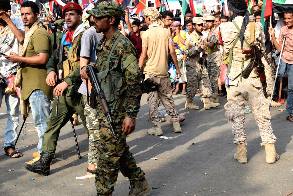 ADEN (YEMEN), Sept. 5, 2019 Soldiers of the Southern Transitional Council (STC) are seen during a rally in Aden, Yemen, on Sept. 5, 2019. Thousands of Yemenis on Thursday gathered in Aden ...
