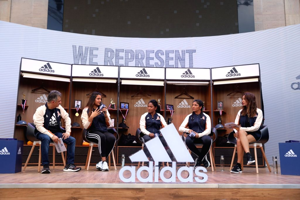 Adidas India Managing Director (Senior Marketing) with squash player Dipika Pallikal Karthik, heptathlete Swapna Barman and boxer Simranjit Kaur at the launch of Adidas VRCT jacket, in New ... - Simranjit Kaur