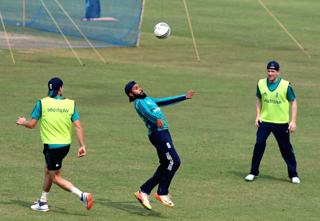 Adil Rashid of England in action during a practice session ahead of the 1st ODI match between India and England at Maharashtra Cricket Association Stadium, Pune on Jan 14, 2017.