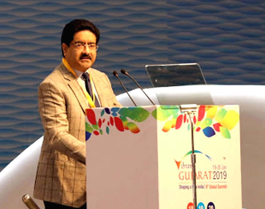 "Aditya Birla Group Chairman Kumar Mangalam Birla addresses at ""Vibrant Gujarat Global Summit 2019"" in Gandhinagar on Jan 18, 2019. - Kumar Mangalam Birla"