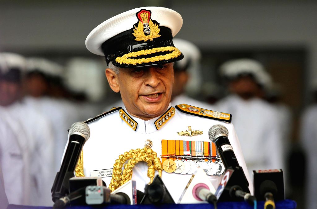 Admiral Sunil Lanba addressing the parade and members of media.