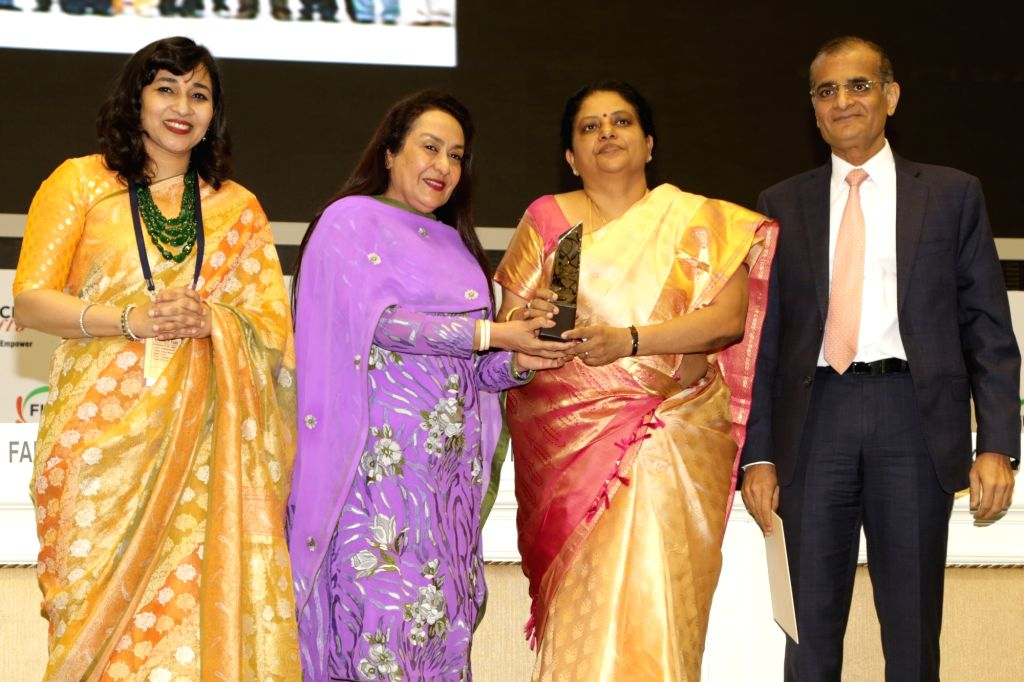 Advanced Systems Laboratory (ASL) Director Tessy Thomas receives the FLO Icon Award during 34th Annual Session of FICCI Ladies Organisation (FLO) at Vigyan Bhavan in New Delhi on April 5, ...