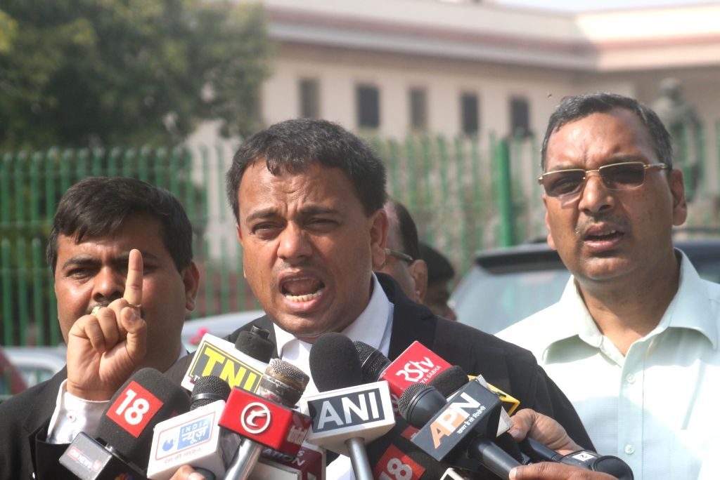 Advocate Manoj Gorkela talks to the press after the Supreme Court said that it will hear the Centre's plea for the recall of its judgement holding that arrest on a complaint under the ...