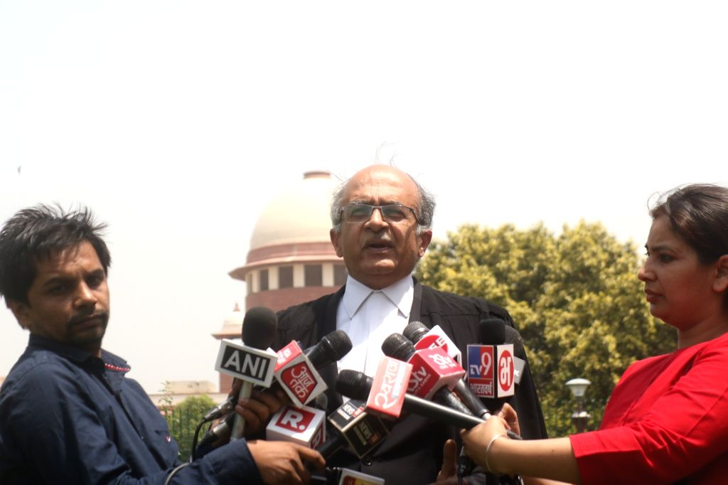 Advocate Prashant Bhushan talks to media persons, regarding the dismissed Border Security Force (BSF) jawan Tej Bahadur Yadav, who moved the Supreme Court on Monday challenging rejection ... - Tej Bahadur Yadav