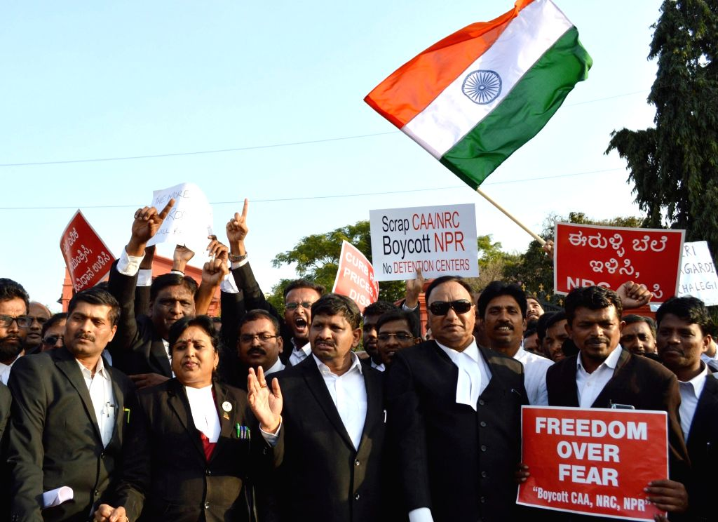 Advocates stage a demonstration against Citizenship Amendment Act (CAA) 2019, National Register of Citizens (NRC) and National Population Register (NPR), expressing solidarity with JNU ...