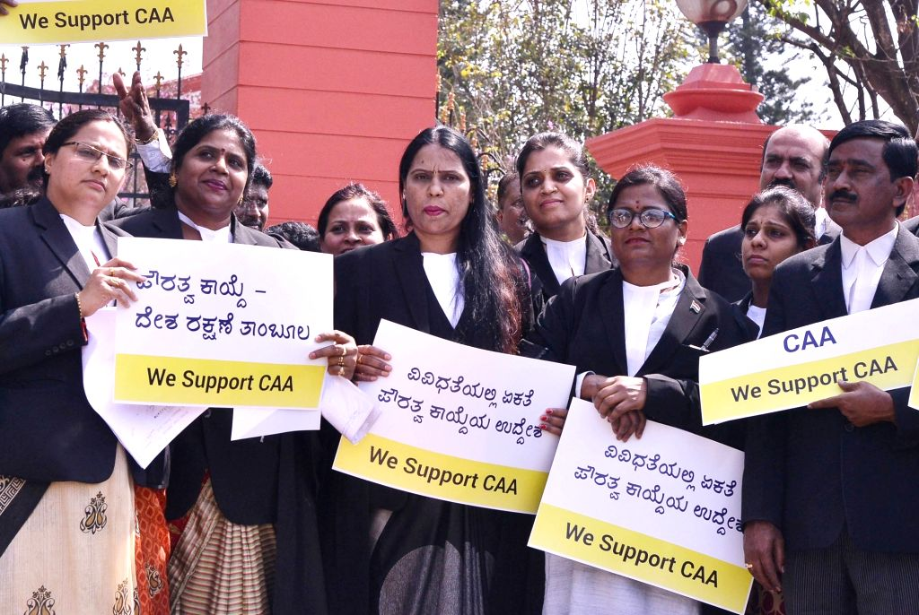 Advocates under the banner of Akhil Bharatiya Adhivakta Parishad participate in a rally expressing their support for the Citizenship Amendment Act (CAA) 2019, in Bengaluru on Jan 9, 2020.