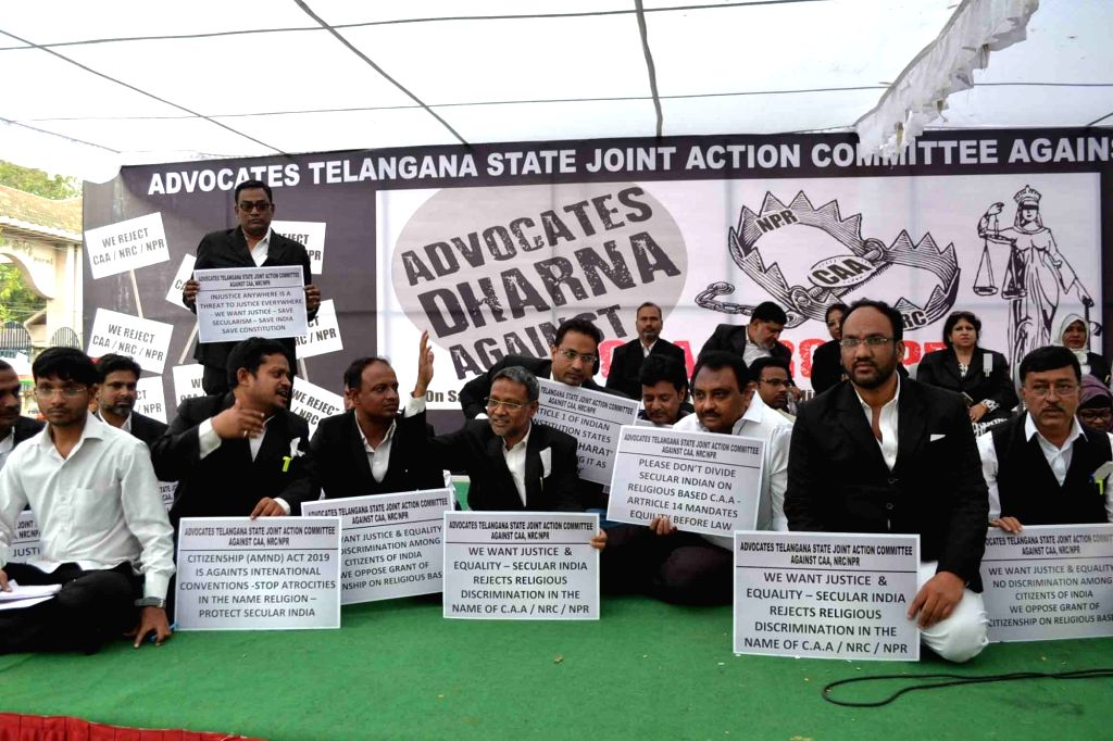 Advocates under the banner of Telangana Advocates Joint Action Committee, stage a demonstration against the Citizenship Amendment Act (CAA) 2019, National Register of Citizens (NRC) and ...