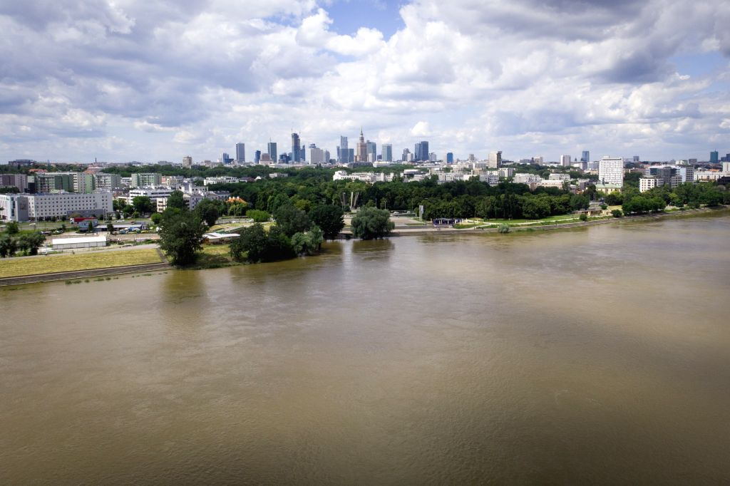 Aerial photo taken on June 30, 2020 shows a flooded river in Warsaw, Poland. Heavy downpours have caused flash floods in Warsaw on Monday evening, with over 300 ...