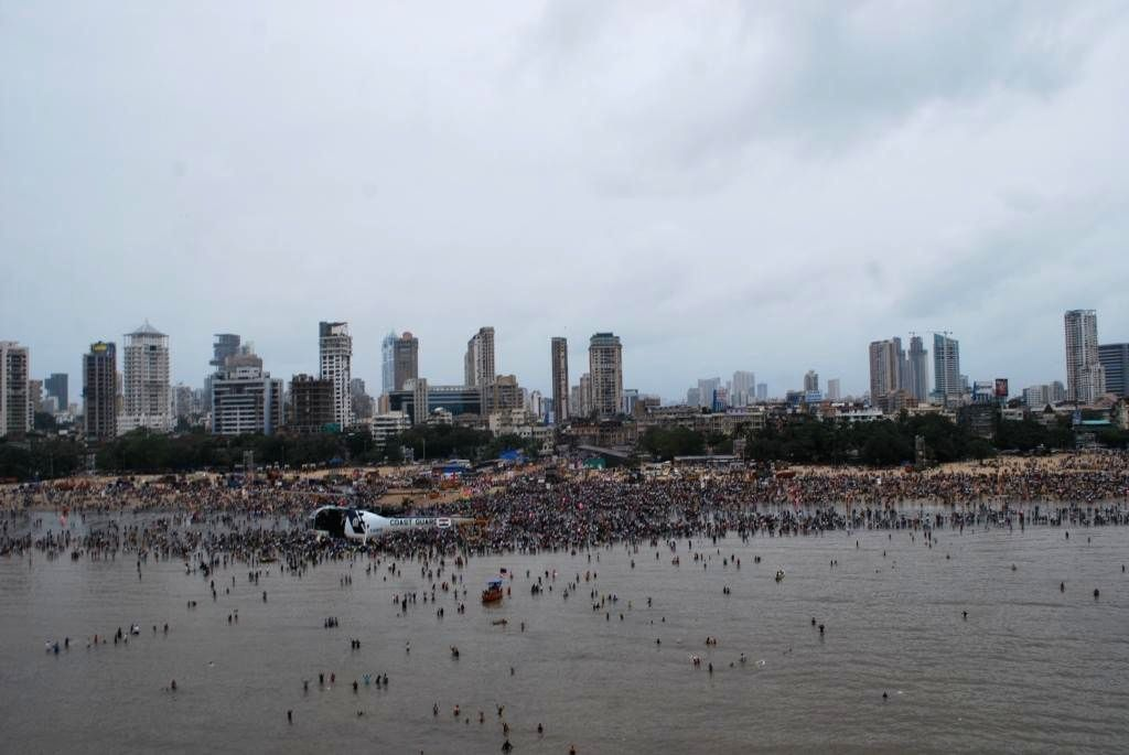 Aerial view of Ganapati immersions at Chaupati in Mumbai on Sept 8, 2014.