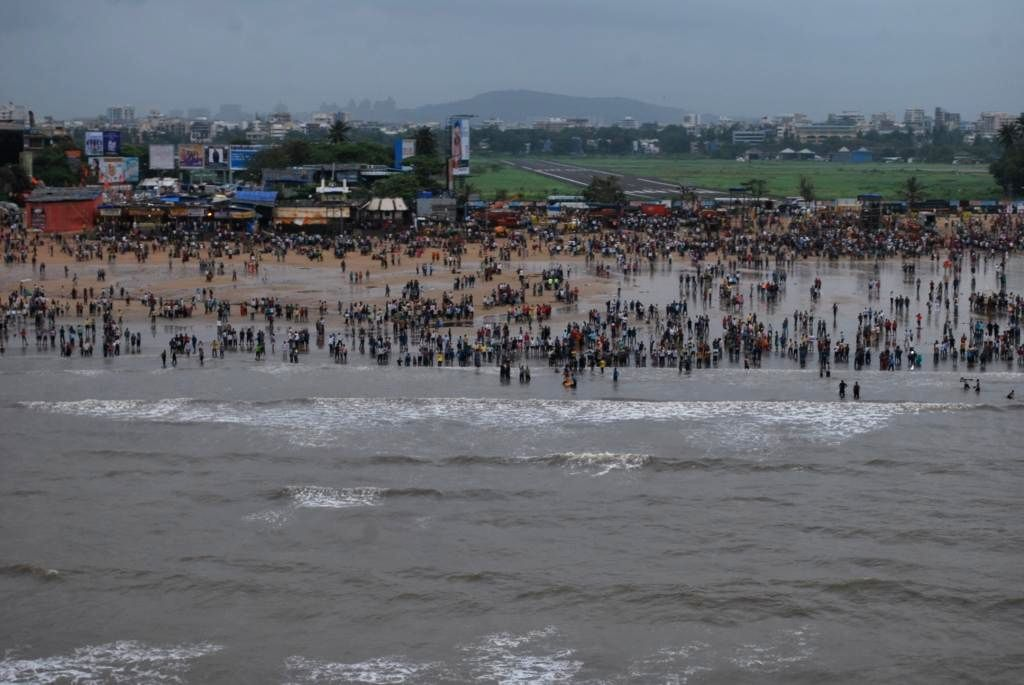 Aerial view of Ganapati immersions at Juhu in Mumbai on Sept 8, 2014.