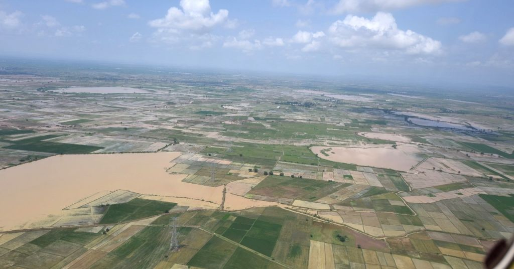 Aerial view of the flood affected Kurnool district of Andhra Pradesh on Sep 21, 2019.