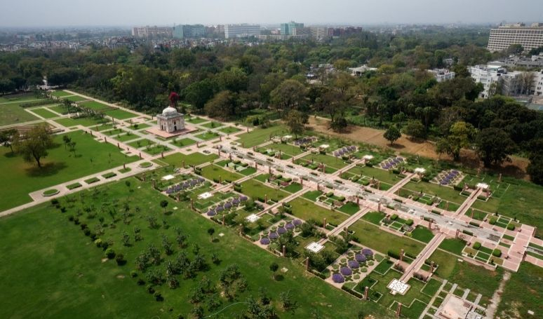 Aerial view over the newly constructed main spine of the Sunder Nursery public garden. (Photo Credit: The Aga Khan Trust for Culture)