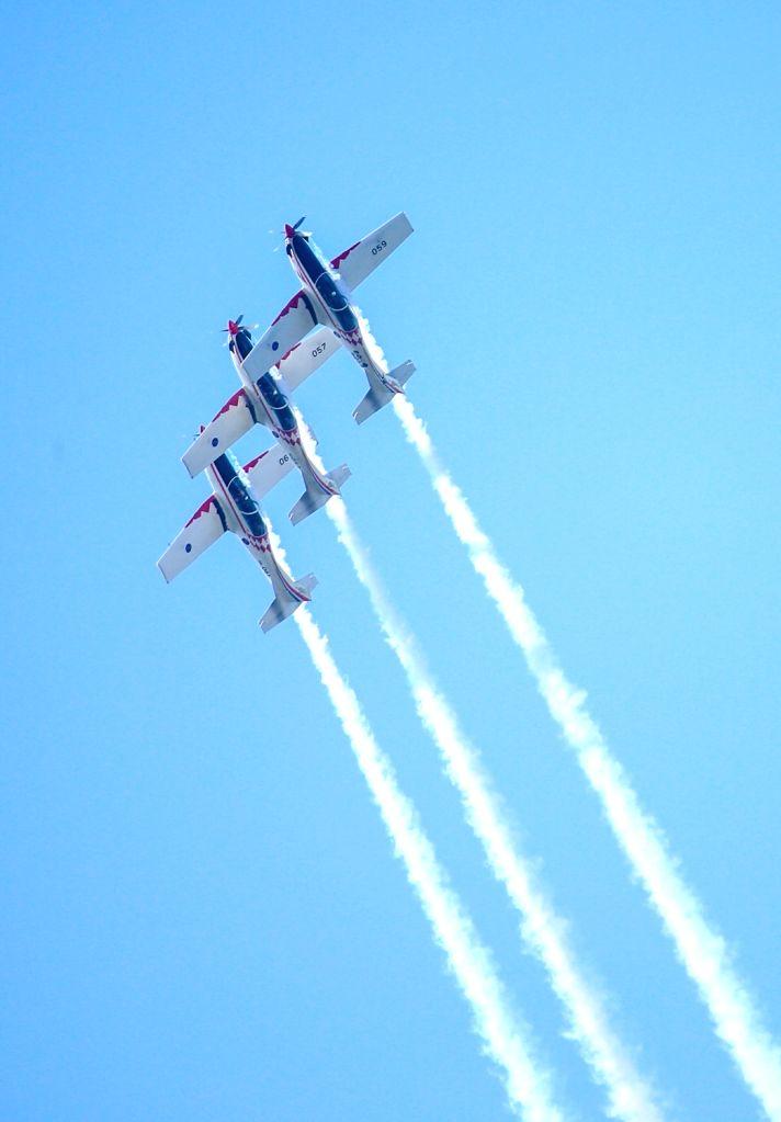 Aerobatic team Storm Wings performs during a commemorative ceremony for pilot Rudolf Perisin in Gornja Stubica, Croatia, on Sept. 13, 2020.