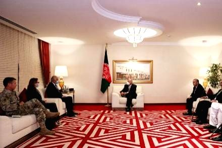 Afghan President Ashraf Ghani discusses peace with Khalilzad and US General.