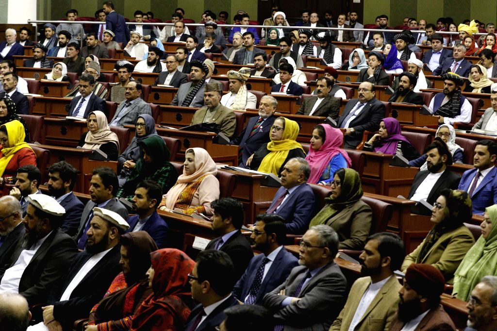 AFGHANISTAN, April 27, 2019 - Members of parliament attend the inauguration of the new parliament in Kabul, capital of Afghanistan, April 26, 2019. Afghan President Mohammad Ashraf Ghani formally ...