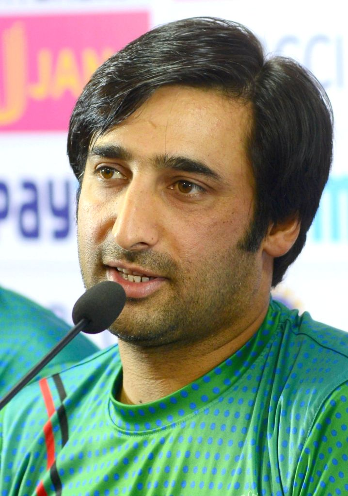 Afghanistan captain Asghar Stanikzai addresses a press conference ahead of their maiden cricket test match against India in Bengaluru on June 13, 2018. - Asghar Stanikzai