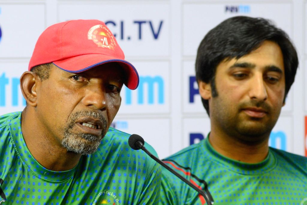 Afghanistan coach Phil Simmons addresses a press conference ahead of their maiden cricket test match against India in Bengaluru on June 13, 2018.
