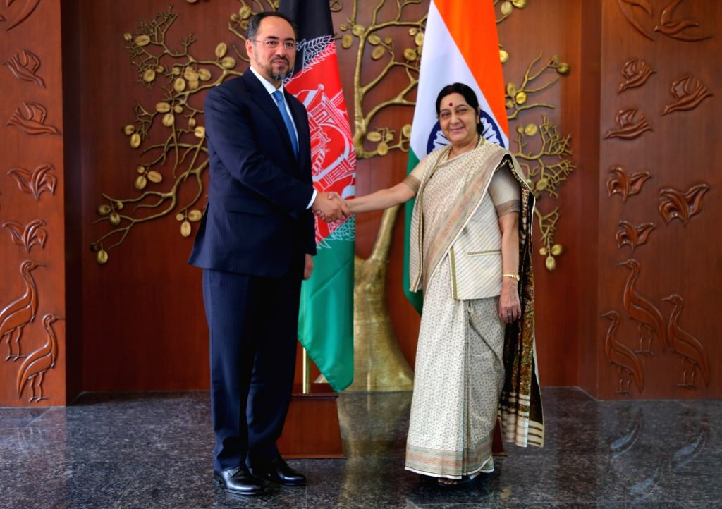 Afghanistan Foreign Minister Salahuddin Rabbani calls on External Affairs Minister Sushma Swaraj in New Delhi on Sept 11, 2017. - Salahuddin Rabbani and Sushma Swaraj