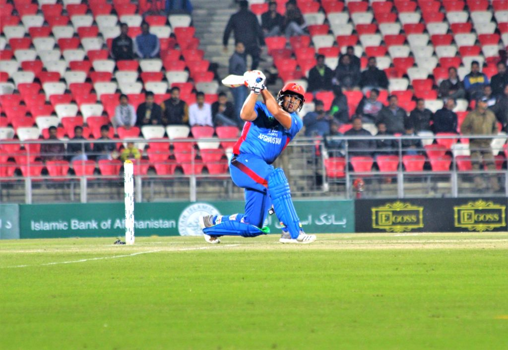 Afghanistan's Hazratullah Zazai in action during a T20I match against Ireland in Dehradun on Feb 23, 2019.