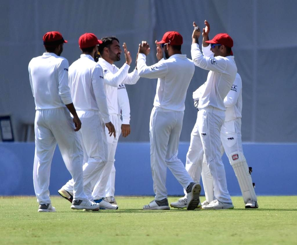 Afghanistan's Rashid Khan celebrates fall of a wicket on Day 2 of the Only Test between Afghanistan and Bangladesh at Zahur Ahmed Chowdhury Stadium in Chittagong, Bangladesh on Sep 6, ... - Rashid Khan