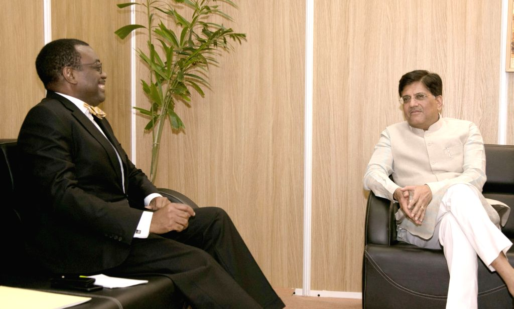 African Development Bank Group(ADBG) President Akinwumi A. Adesina meets Union Power Minister Piyush Goyal in Gandhinagar, Gujarat on May 24, 2017. - Piyush Goyal