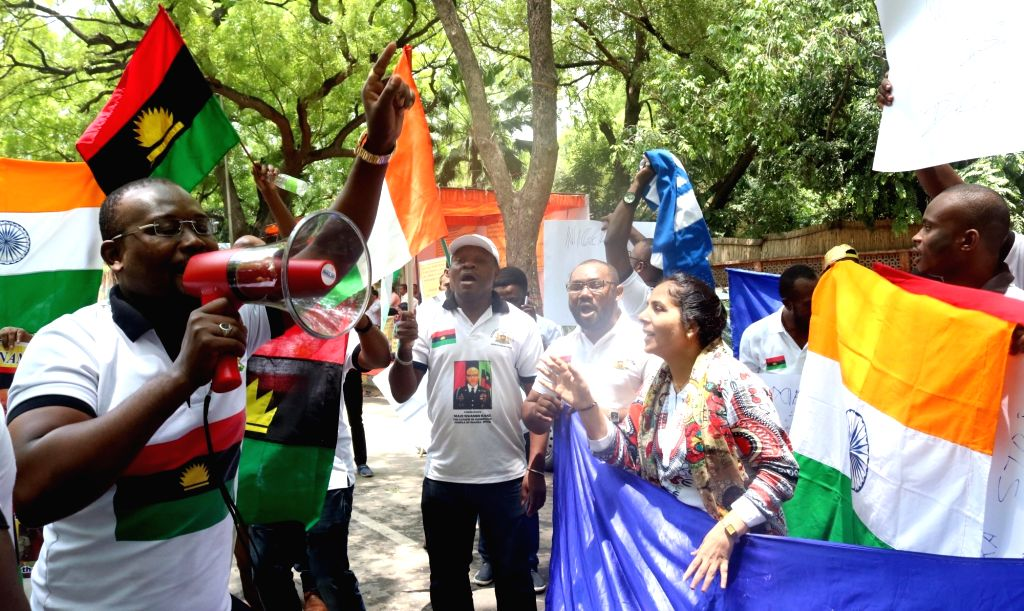 African students  stage a demonstration against increasing attacks on them, at Jantar Mantar in New Delhi, on May 30, 2016.The protests come in the wake of a string of attacks on African ...