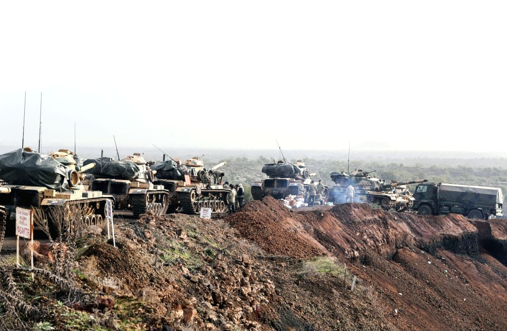 """AFRIN (SYRIA)Turkish army tanks are seen in Afrin, Syria, on Jan. 22, 2018. Turkey launched on Jan. 20 a new operation dubbed as """"Operation Olive Branch"""" on the ..."""