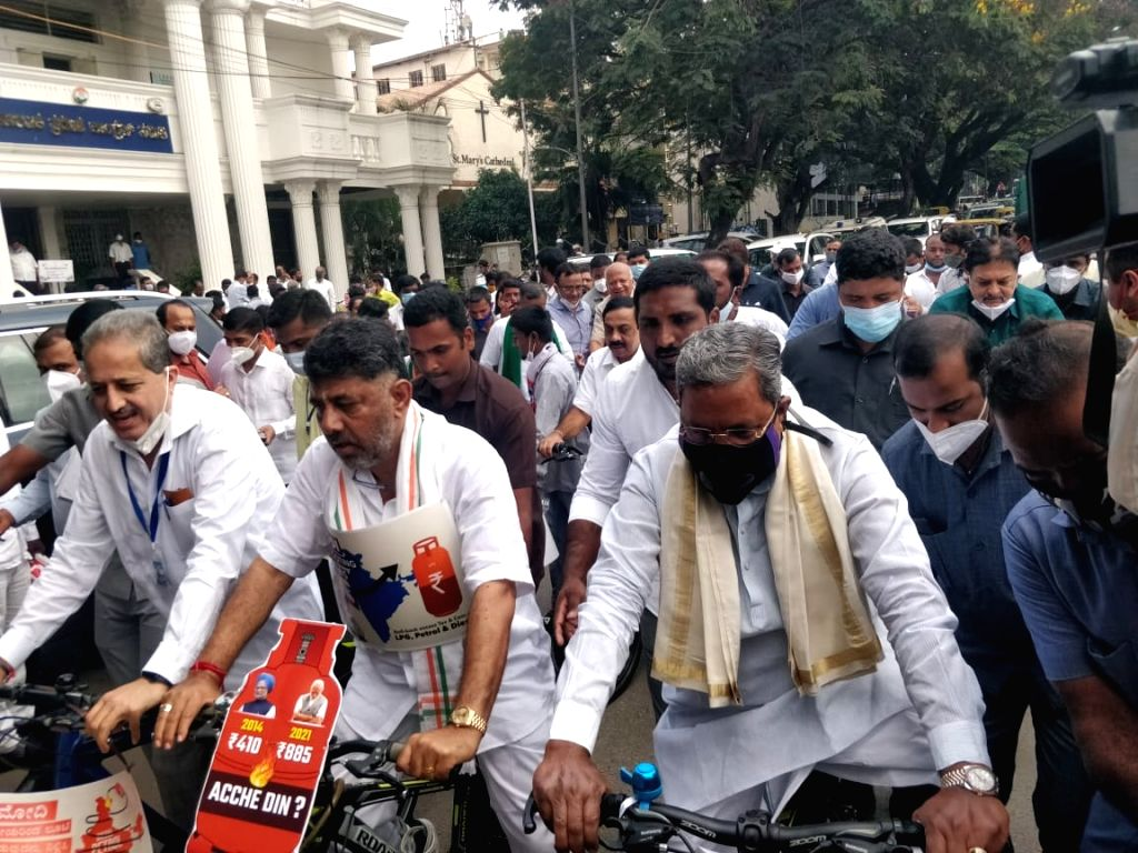 After Bullock cart procession, K,taka Congress stages bicycle rally against.