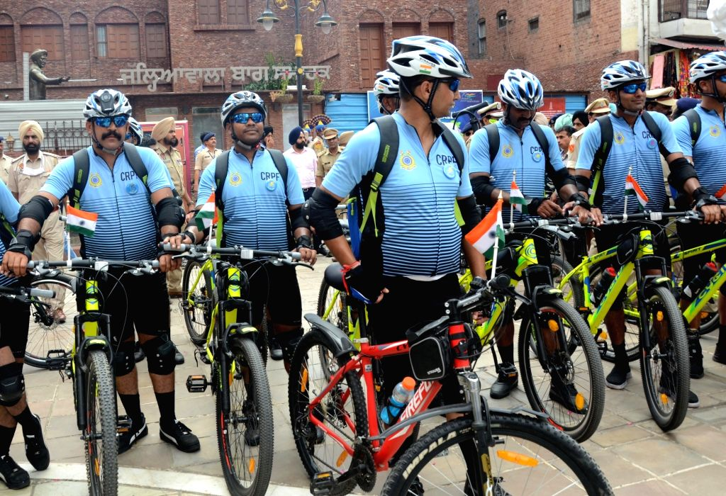 After paying homage at Jallianwala Bagh on the occasion of 74th Independence Day, a cycle rally of CRPF jawans reached Amritsar on Friday, september 24, 2021.