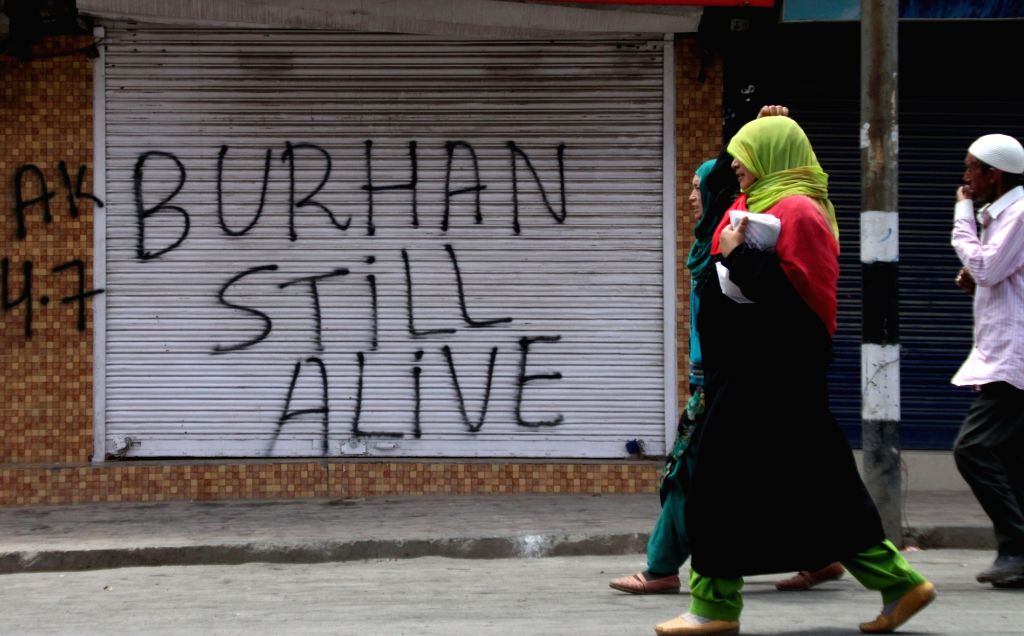 After the separatists called for a Kashmir-wide protest shutdown on Monday to remember Hizbul poster boy Burhan Wani on his third death anniversary, authorities on Sunday suspended mobile Internet facility in four south Kashmir districts. (Photo: IAN