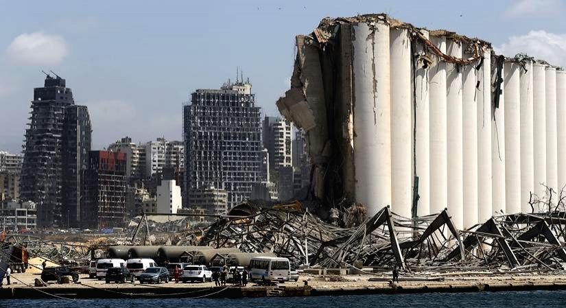 Aftermath of a huge explosions that hit Beirut's port in Lebanon on Aug 8, 2020. (Xinhua/Bilal Jawich/IANS)
