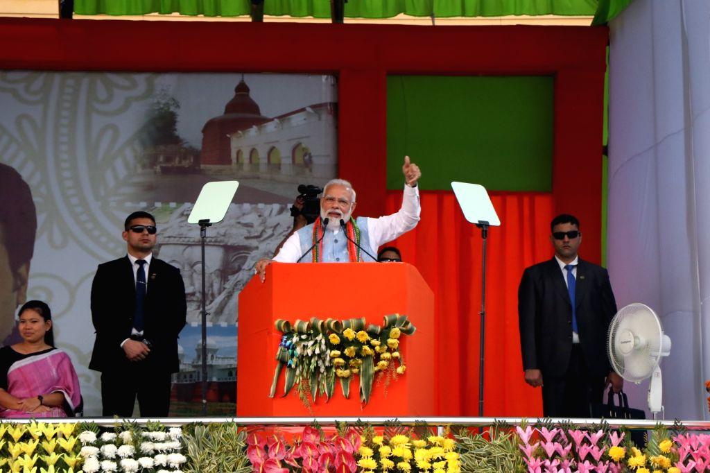 Agartala: Prime Minister Narendra Modi addresses after inaugurating Garjee-Belonia railway line in Agartala, on Feb 9, 2019.(Photo: IANS) - Narendra Modi