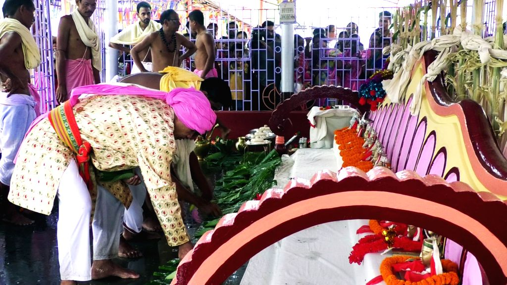 "Agartala: The centuries-old week long ""Kharchi Puja"" featuring 14 deities -- Shiva, Durga, Vishnu, Laxmi, Saraswati, Kartik, Ganesha, Brahma, Abadhi (God of water), Chandra, Ganga, Agni, Kamdev and Himadri (Himalaya) begins in Agartala, Tripura on Ju"