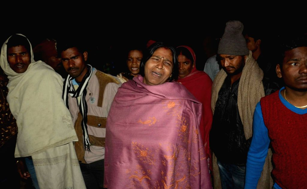 Aggrieved relatives of the victims of boat accident  in Patna on Jan 14, 2017. At least 17 passengers were killed and many others were missing as a boat carrying 40 people capsized in the ...