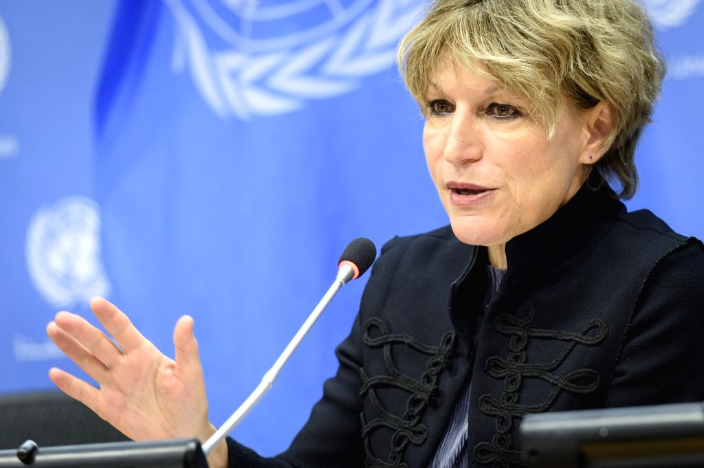 Agnes Callamard, the UN Special Rapporteur on Extrajudicial, Summary or Arbitrary Executions, speaks at a news conference at the United Nations headquarters in New York on Friday, October 25, 2019.