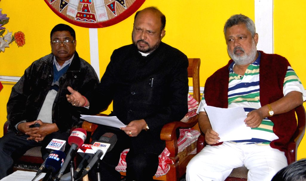 AGP leader Prafulla Kumar Mahanta addresses a press conference  in Guwahati, on Jan 4, 2015.