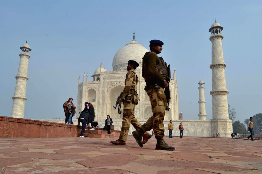 A soldiers stand guard at the Taj Mahal ahead of US President Barack Obama's expected visit on 27th January 2015, in Agra, on Jan 20, 2015.
