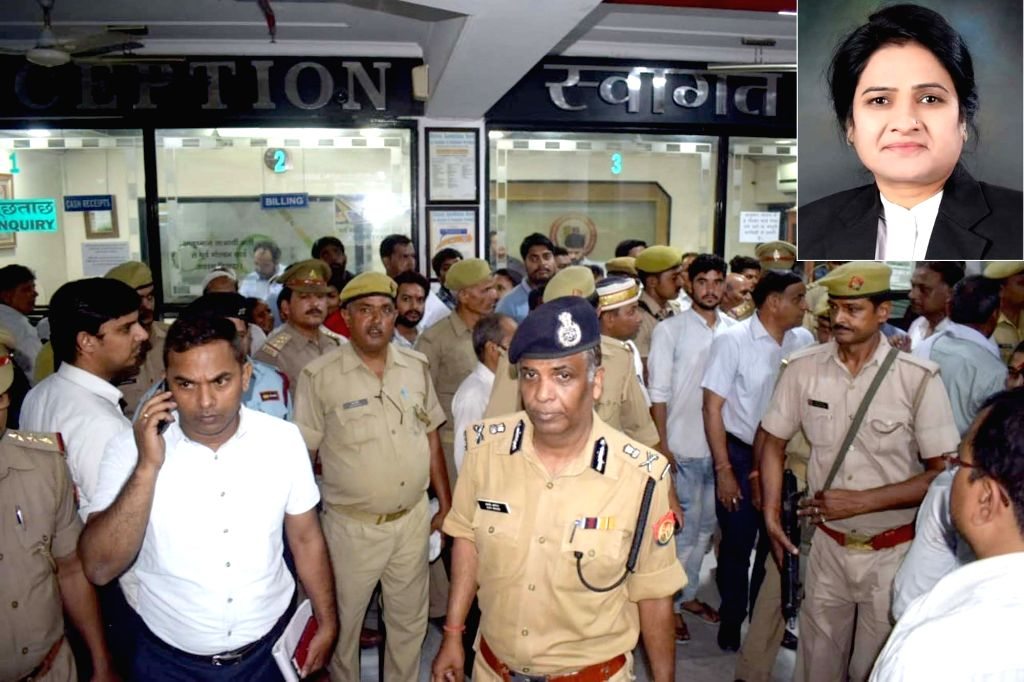 Agra: Agra ADG Ajay Anand arrives at the Pushpanjli hospital where Darwesh Yadav (inset), the first woman President of the Uttar Pradesh Bar Council who was shot dead in Agra Civil courts allegedly by her own colleague Manish Sharma, was rushed for t - Darwesh Yadav and Manish Sharma