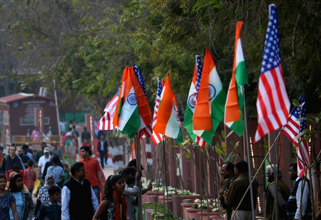 Agra:  An Agra street decorated with Indian and American flags on the eve of US President Donald Trump's visit to the city of Taj, on Feb 23, 2020. (Photo: Bidesh Manna/IANS)