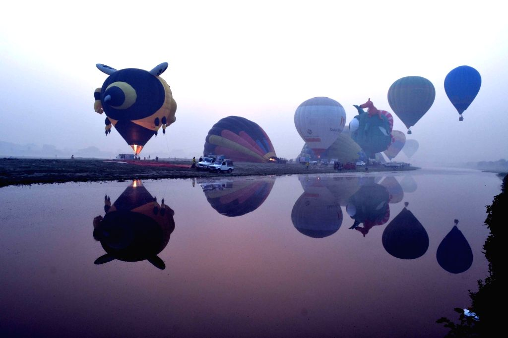 :Agra: Balloons fly in Agra sky during the two-day balloon festival on Nov 15, 2015. .
