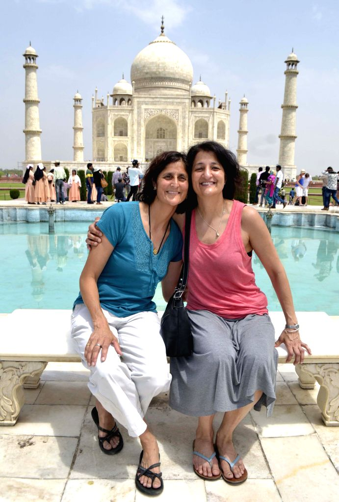 NASA Astronaut Capt. Sunita Williams during her visit to the Taj Mahal in Agra, on April 23, 2015.