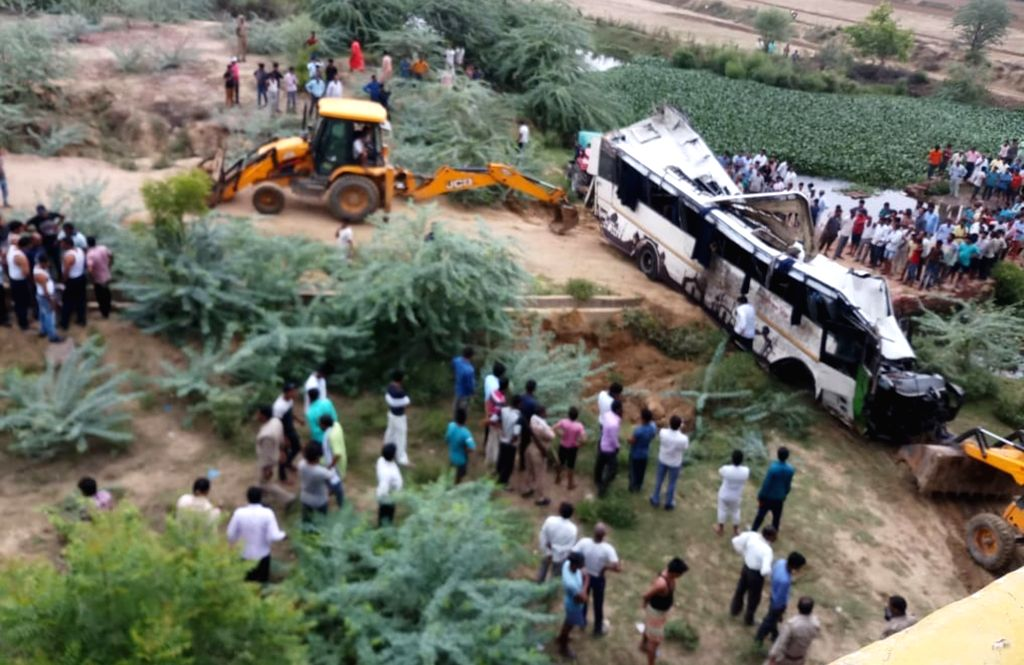 Agra:  Rescue operations underway after at least 29 people were killed when a passenger bus fell into the 40-feet-deep gap between two flyovers on the Yamuna Expressway near Milestone 161 (Jharna nallah) under Etmadpur police jurisdiction of Agra dis
