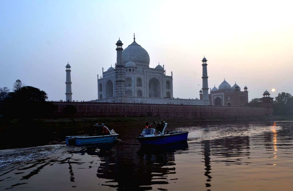 Security heightened in the vicinity of  the Taj Mahal ahead of US President Barack Obama's expected visit on 27th January 2015, in Agra, on Jan 20, 2015.