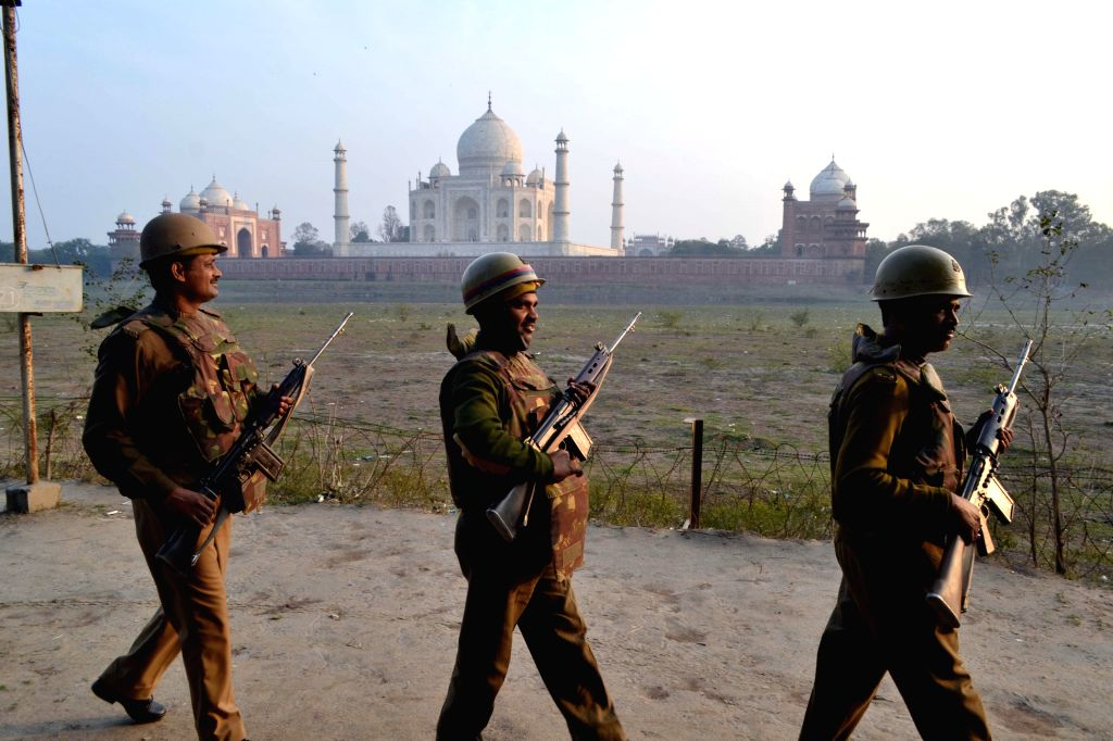 Security heightened in the vicinity of  the Taj Mahal ahead of US President Barack Obama's expected visit on 27th January 2015, in Agra, on Jan 23, 2015.