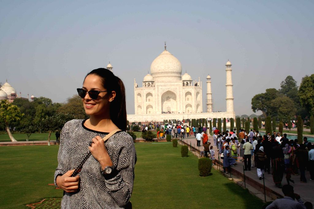 Serbian professional tennis player Ana Ivanovic during her visit to the Taj Mahal in Agra, on Dec 9, 2014.