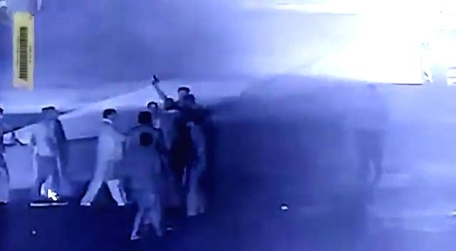 Agra: Stills from a CCTV footage that has gone viral on social media, where reportedly BJP MP from Etawah Ram Shankar Katehria is seen looking on as his security staff beat up a toll plaza employee and fire in the air, in Agra. (Photo: IANS)
